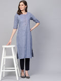 Myshka Women's Blue Cotton Solid Half Sleeve Round Neck Kurti
