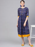Myshka Women's Navy Cotton Printed Half Sleeve Round Neck Dress