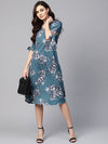 Myshka Women's Blue Polyester Printed Half Sleeve V Neck Dress