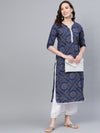 Myshka Women's Blue Cotton Printed Half Sleeve Round Neck Casual Kurta Palazzo Set
