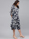 Myshka Women's Navy Polyester Printed 3/4 Sleeve V Neck Dress