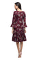 Myshka Women's Maroon Polyster Printed Bell Sleeve Round Neck Dress