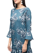 Myshka Women's Blue Polyster Printed Bell Sleeve Round Neck Dress