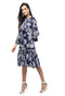 Myshka Women's navy Polyster Printed Bell Sleeve Round Neck Dress