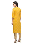 Myshka Women's Yellow Rayon Printed Regular Sleeves Round Neck Casual Kurta
