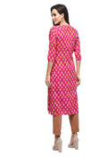 Myshka Women's Pink Rayon Printed Regular Sleeves Round Neck Casual Kurta