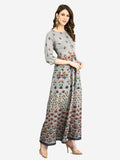 Myshka Women's Multi Cotton Printed 3/4 Sleeve Round Neck Casual Dress