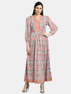 Myshka Women's Multi Cotton Printed 3/4 Sleeve V Neck Casual Dress