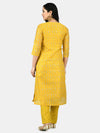 Myshka Women's Yellow Chanderi Printed 3/4 Sleeve Round Neck Casual Kurta Pant Set