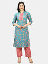 Myshka Women's Multi Poly Cotton Printed 3/4 Sleeve Mandarin Neck Casual Kurta Pant Set