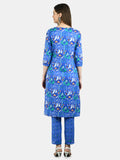 Myshka Women's Blue Cotton Printed 3/4 Sleeve Round Neck Casual Kurta Pant Set
