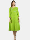 Myshka Women's Green Cotton Printed 3/4 Sleeve Round Neck Casual Dress