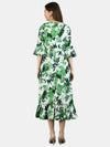 Myshka Women's Green Polyester Printed Half Sleeve V Neck Casual Dress