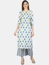 Myshka Women's Multi Cotton Printed 3/4 Sleeve Round Neck Casual Kurta Palazzo Set