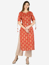 Myshka Women's Brown Cotton Printed Half Sleeve Round Neck Casual Kurta Pant Set