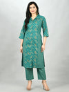 Myshka Women's Green Cotton Printed 3/4 Sleeve Shirt Coller Casual Kurta Pant Set