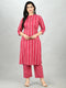 Myshka Women's Pink Cotton Printed 3/4 Sleeve Mandarin Neck Casual Kurta Pant Set