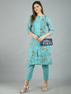 Myshka Women's Green Poly Cotton Printed 3/4 Sleeve Round Neck Casual Kurta Pant Set