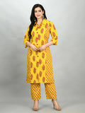 Myshka Women's Yellow Cotton Printed 3/4 Sleeve Shirt Coller Casual Kurta Pant Set