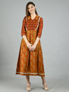 Myshka Women's Brown Silk Printed 3/4 Sleeve Shirt Coller Casual Dress