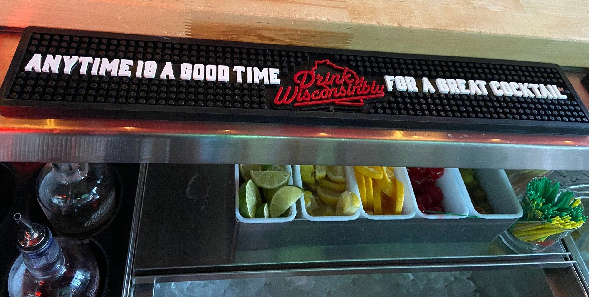 """Anytime is a Good Time for a Great Cocktail"" Bar Rail Mat"