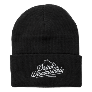 Drink Wisconsinbly Black Knit Hat