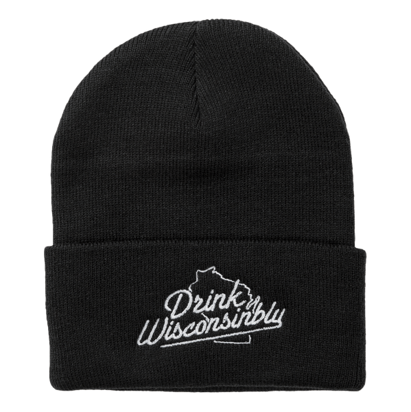 b26a1cb2b4a Drink Wisconsinbly Black Knit Hat