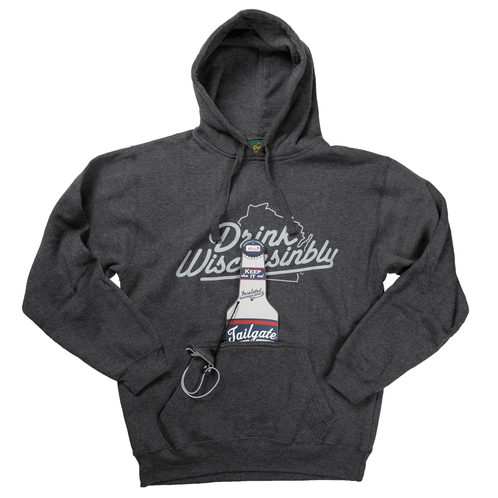 62cb976e3f1 Drink Wisconsinbly Grey Bottle Pouch Hoodie ...