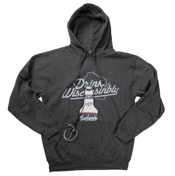 068a5ef8e14 Drink Wisconsinbly Grey Bottle Pouch Hoodie