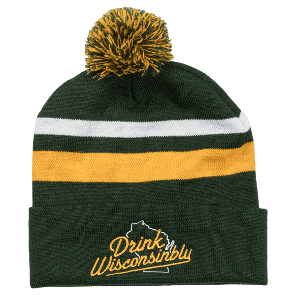 cfbac3059a7 Drink Wisconsinbly Green   Gold Pom Hat