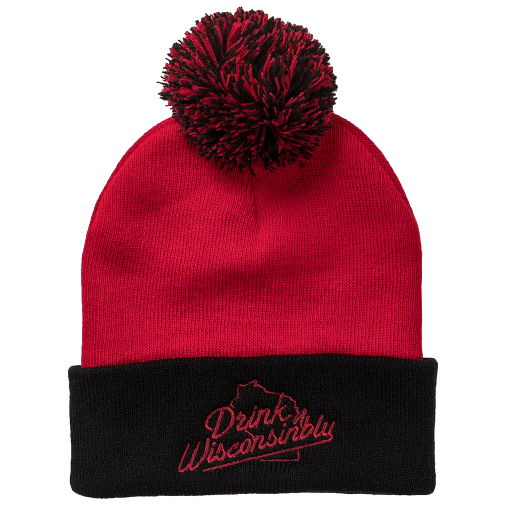 0898b6655c7 Drink Wisconsinbly Red   Black Pom Hat