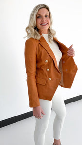 Kenzie Double Breasted Blazer Saddle