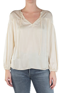 Rochelle Shirred Peasant Top