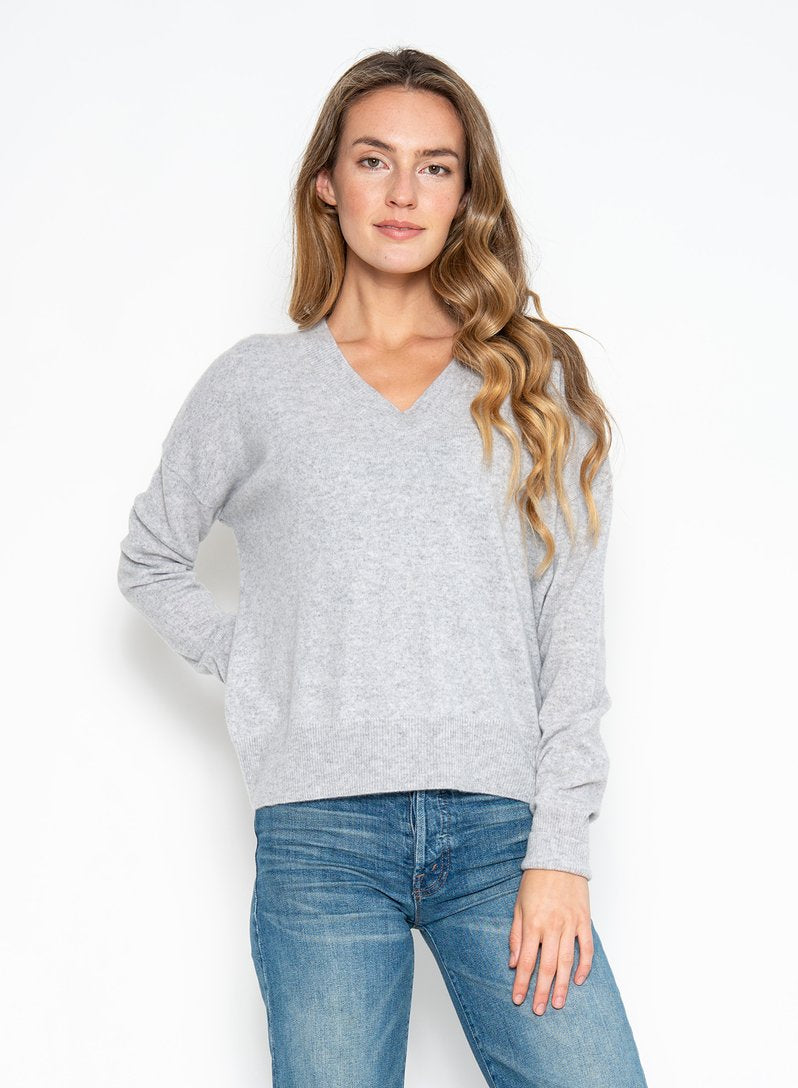 Spencer Cashmere V Neck Heather Grey