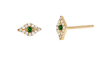 Load image into Gallery viewer, 14KY Mini Diamond Tsavorite Evel Eye Studs