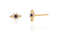 Load image into Gallery viewer, 14KY Mini Diamond Evil Eye Studs