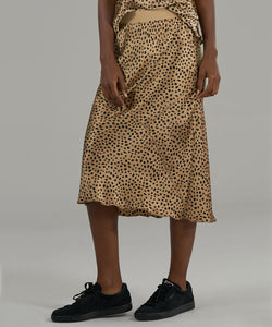 Silk Charmeuse Print Skirt Camel/Black