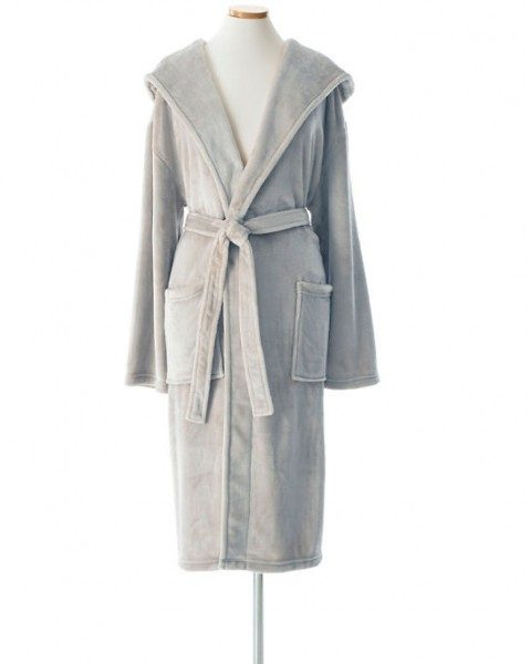 Selke Fleece Hooded Robe Pearl Grey