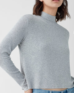 Mock Neck 2x1 Heather Grey