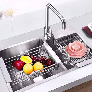 Stainless Steel Dish Drying Rack Drain Basket Home Kitchen Organizer Sink