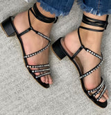 Mel Black Lace-up Sandals - Paula Torres