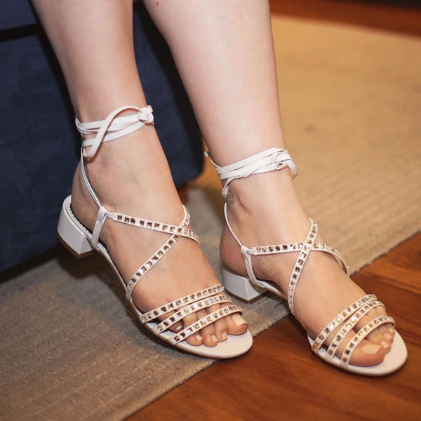 Mel Lace-up White Sandal - Paula Torres