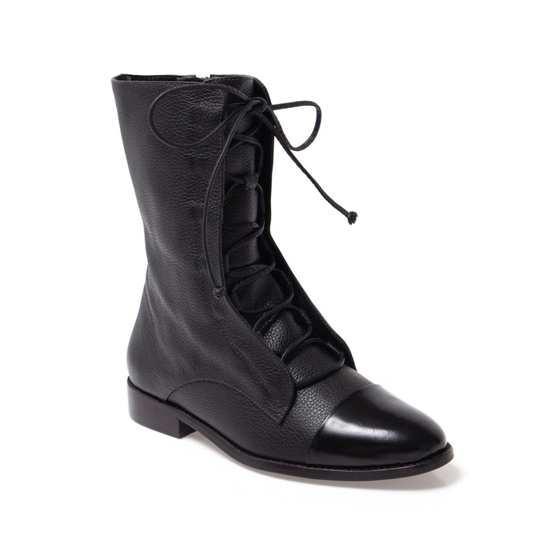 Pietra Black Lace-up Boot