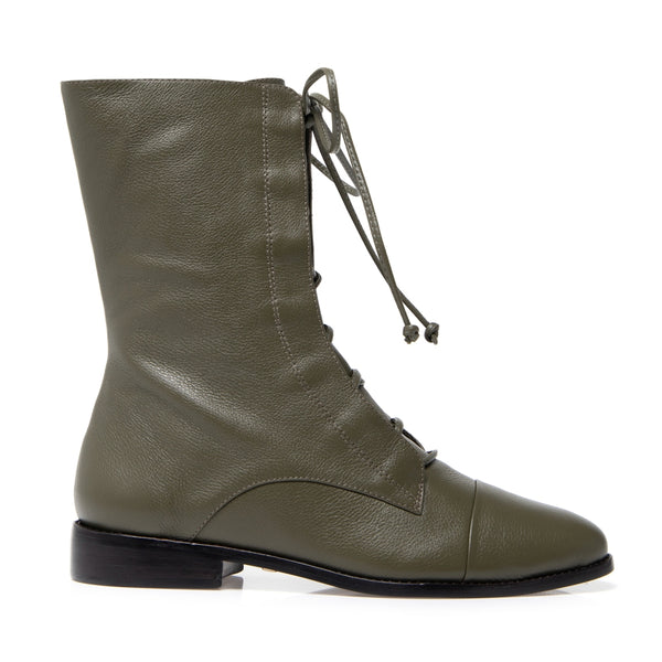Pietra Green Lace-up Boot