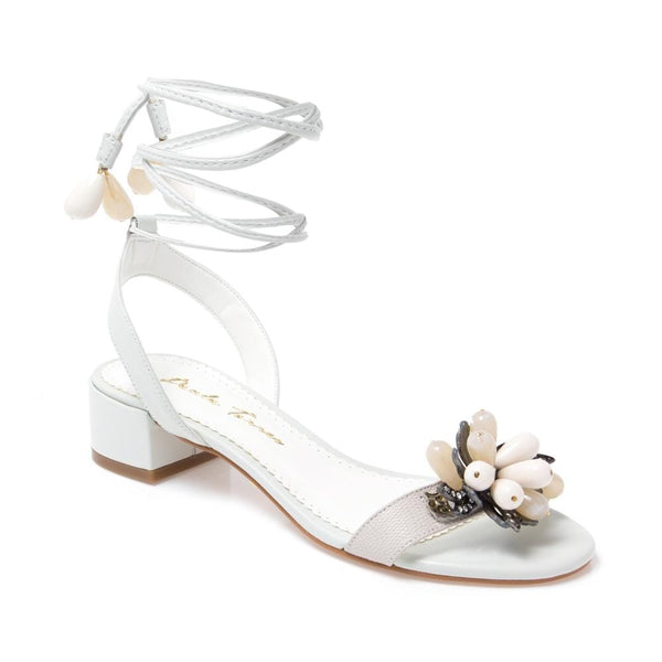 Agata Beaded Off-White Sandal - Paula Torres