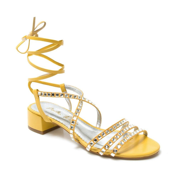 Mel Lace-up Yellow Sandal - Paula Torres