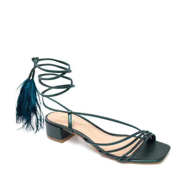 Frances Lace-up Dark Green Sandal - Paula Torres