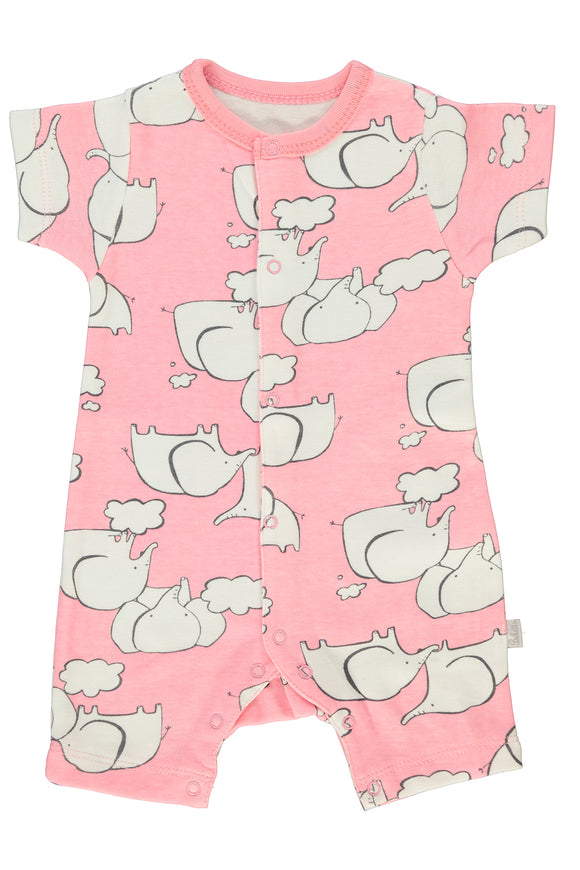 BEBETTO Short Sleeved Baby Romper Pink Elephant