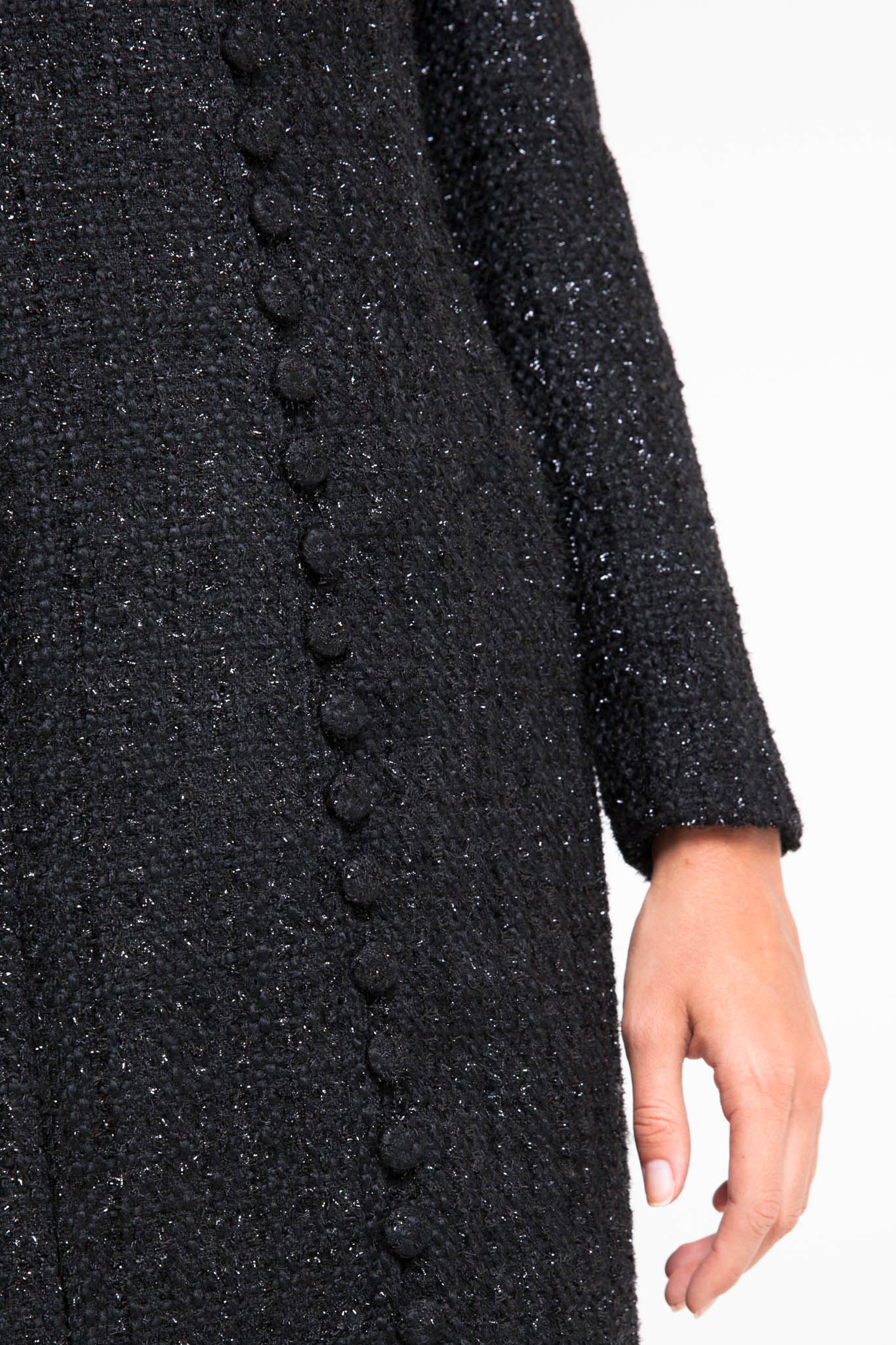 Button front midi tweed dress