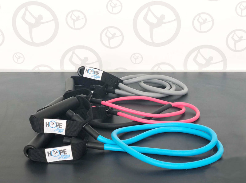 Resistance Tube Bands with Handles Attached